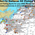 Beaufort to Hatteras North Carolina Fishing Map and Fishing Spots with GPS Coordiates