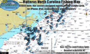 Hatteras North Carolina Fishing Spots Map