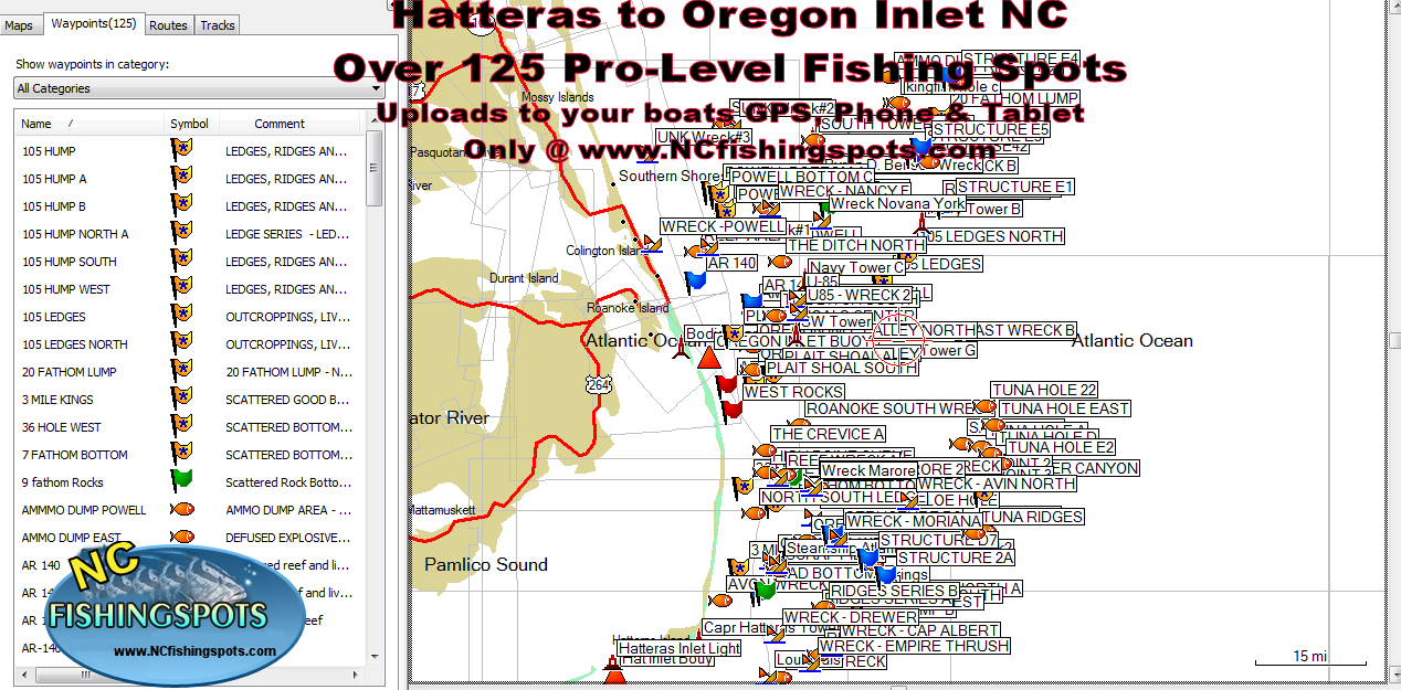 Hatteras nc to oregon inlet nc fishing map and fishing spots for Free fishing spots near me