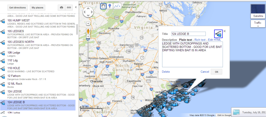 North carolina fishing map full googlemap north carolina for Nc fishing laws