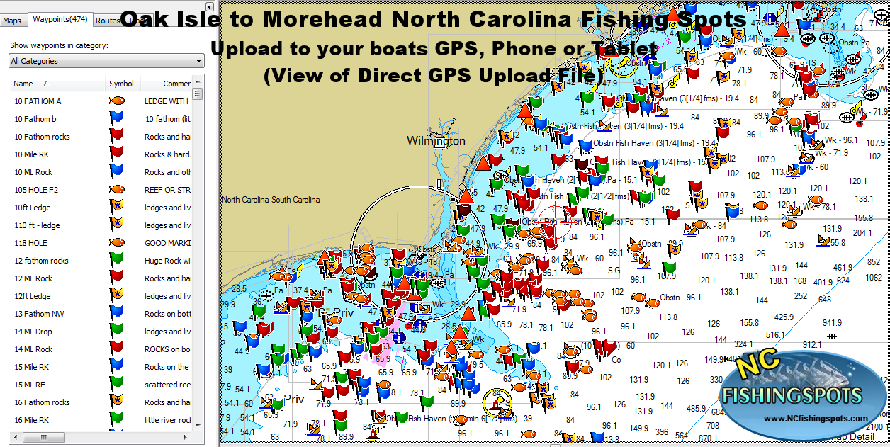 Oak Island Morehead North Carolina Fishing Map And Fishing Spots - Map of north carolina coast