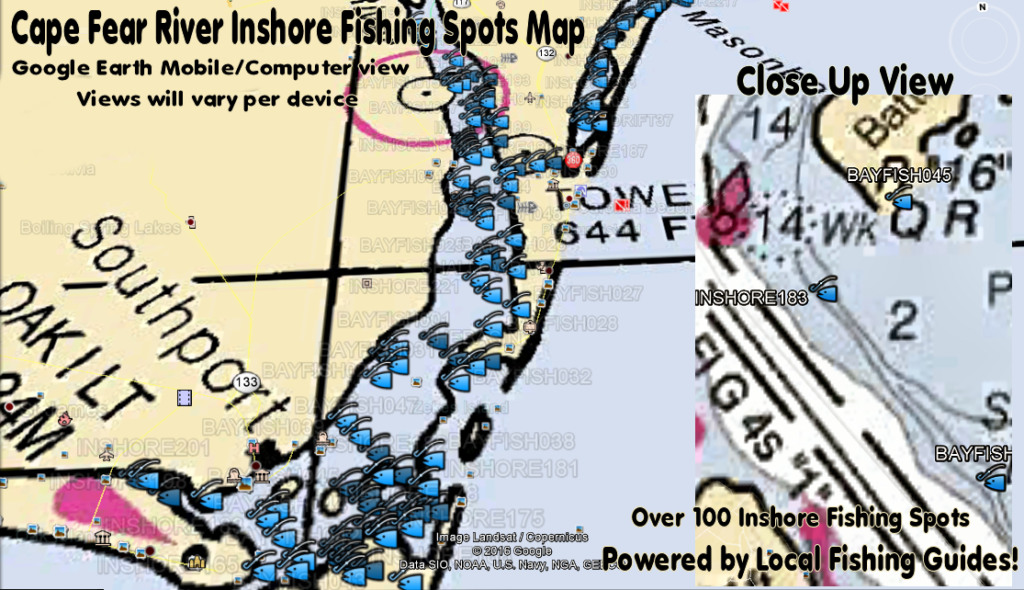 Cape Fear River Fishing Spots Map
