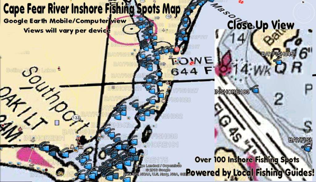 North carolina inshore fishing spots map north carolina for Best fishing lakes in nc