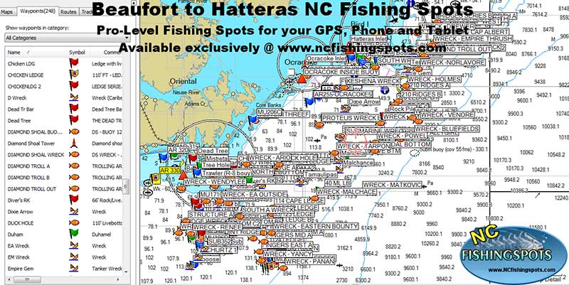 North Carolina Fishing Spots & GPS Locations for Fishing in