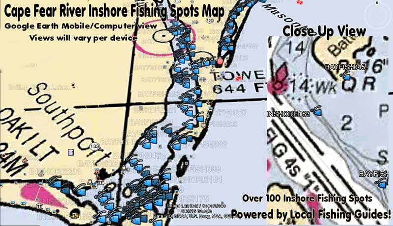 Cape Fear NC Inshore Fishing Spots Map