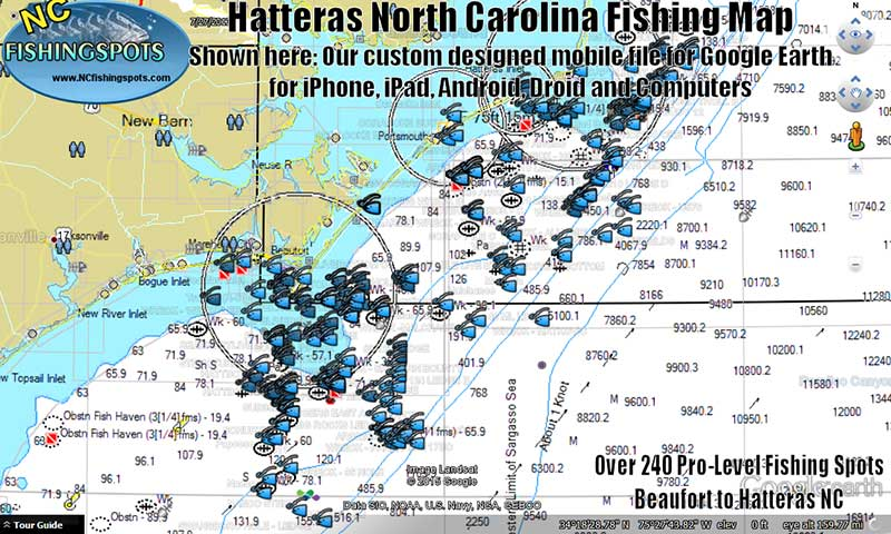 Hatteras Offshore GPS Fishing Spots Map