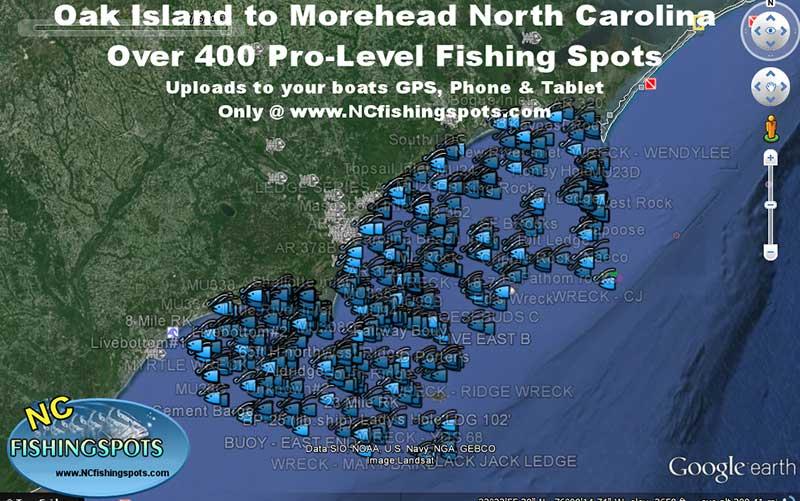 Oak Island to Morehead City North Carolina GPS Fishing Spots