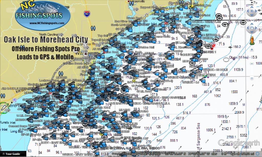 Oak Island to Morehead City Fishing Spots Map